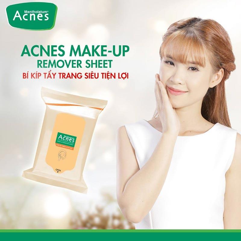 Khan tay trang tien loi acnes make up remover sheet