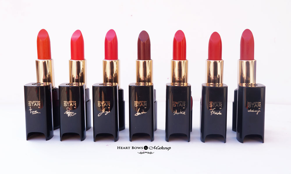 Loreal collection star red lipsticks shades review swatches india