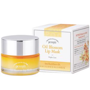 Mặt nạ ngủ cho môi Petitfee Oil Blossom Lip Mask Sea Buckthorn Oil.