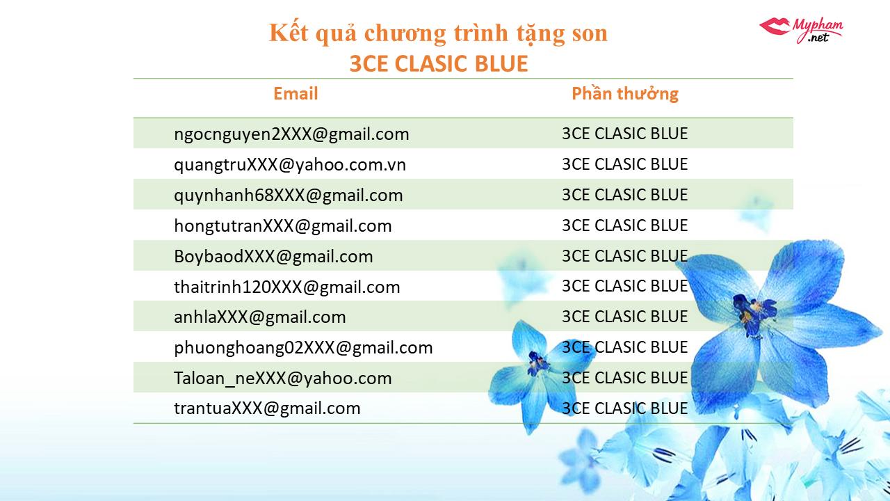 [KẾT QUẢ]  Chương trình tặng son 3CE Classic Blue và son Blueming Garden